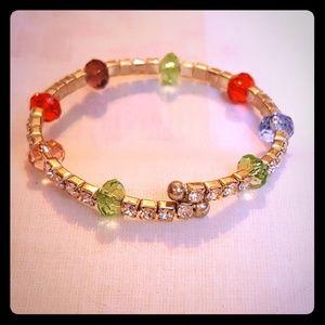 "Jewelry - Approx 7"" adjustable rhinestone bead bracelet EUC"